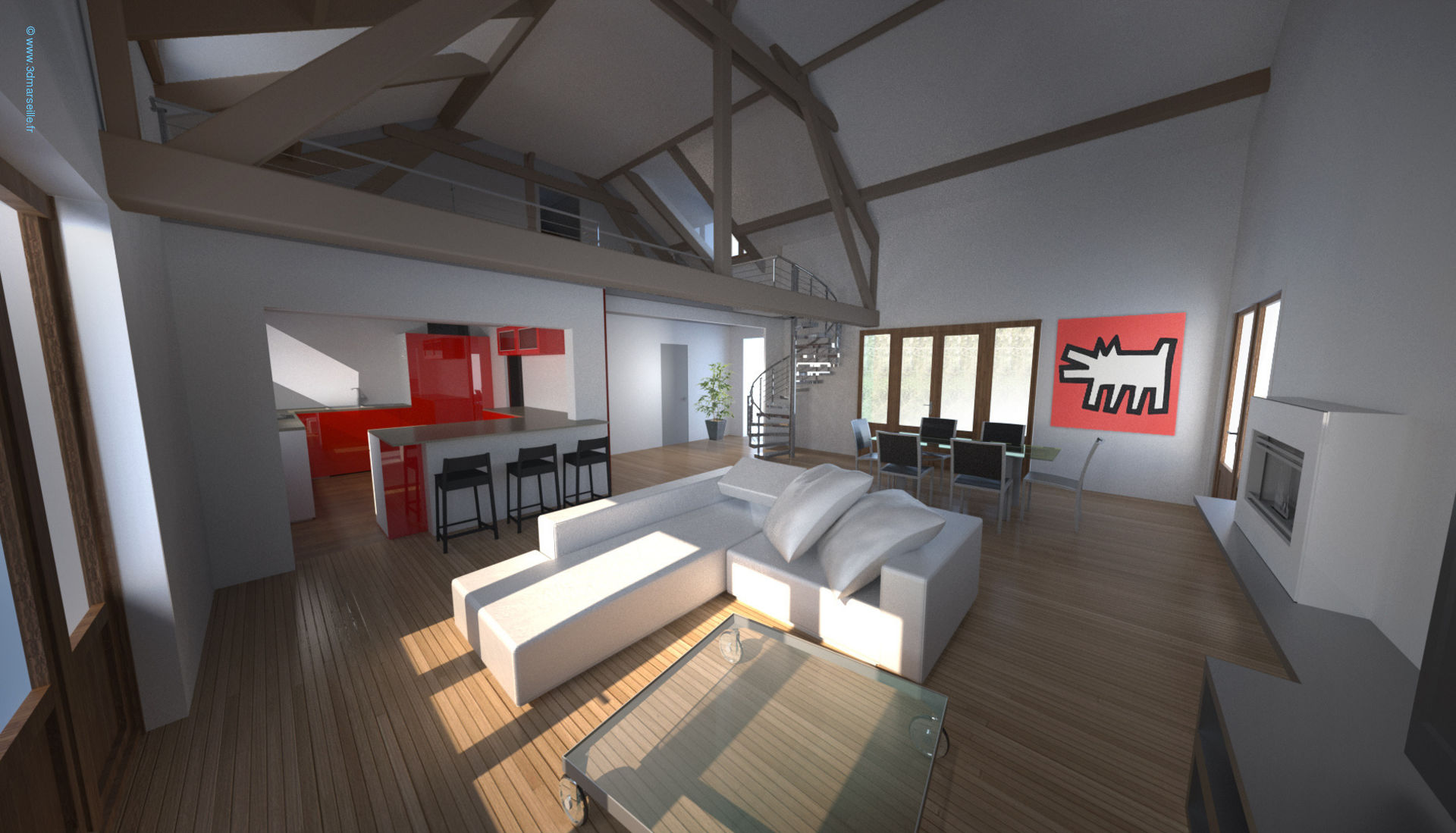 Projet d am nagement int rieur maison individuelle 3d for Plan 3d amenagement interieur