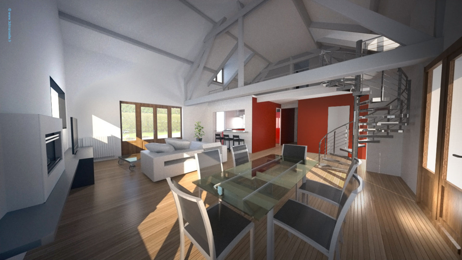 Projet d am nagement int rieur maison individuelle 3d marseille for Plan amenagement interieur