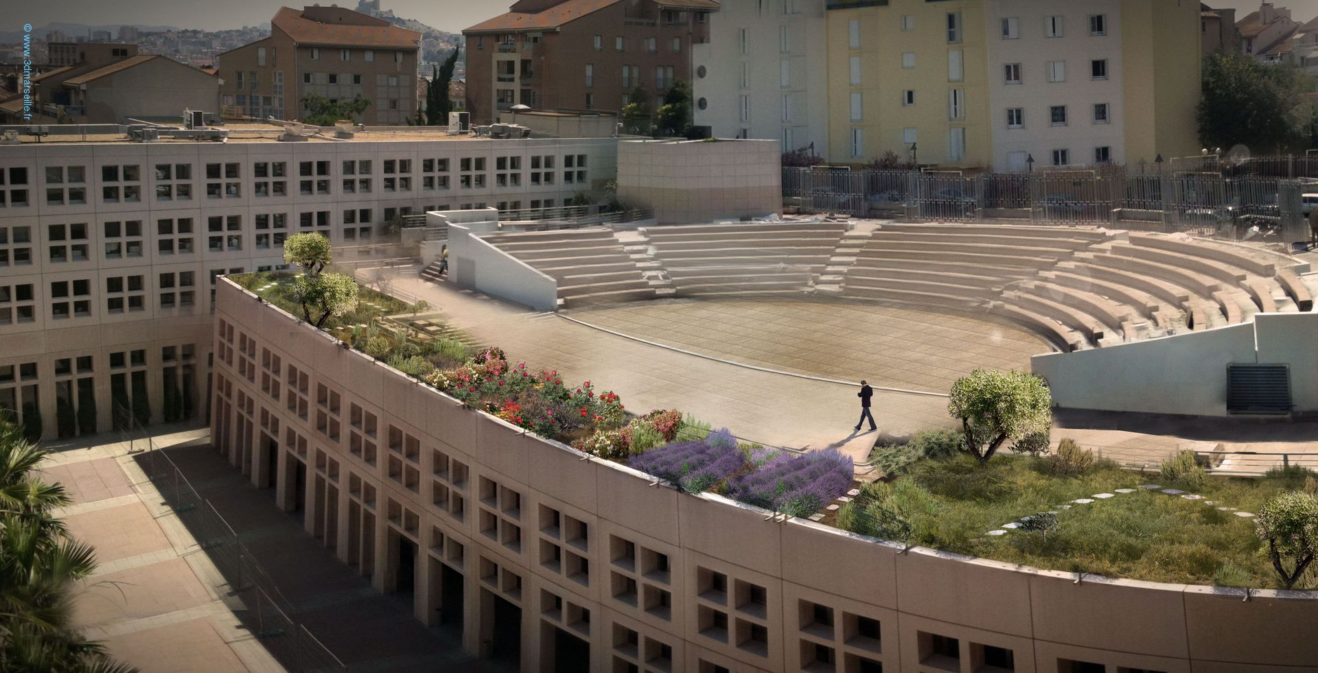 Toits terrasses du conseil r gional 13 3d marseille for Toits terrasses marseille