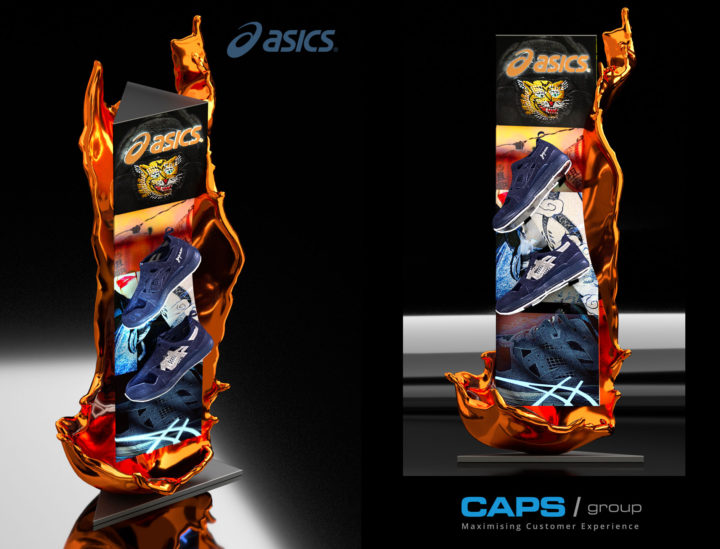 3D retail shoe display – Caps / ASICS