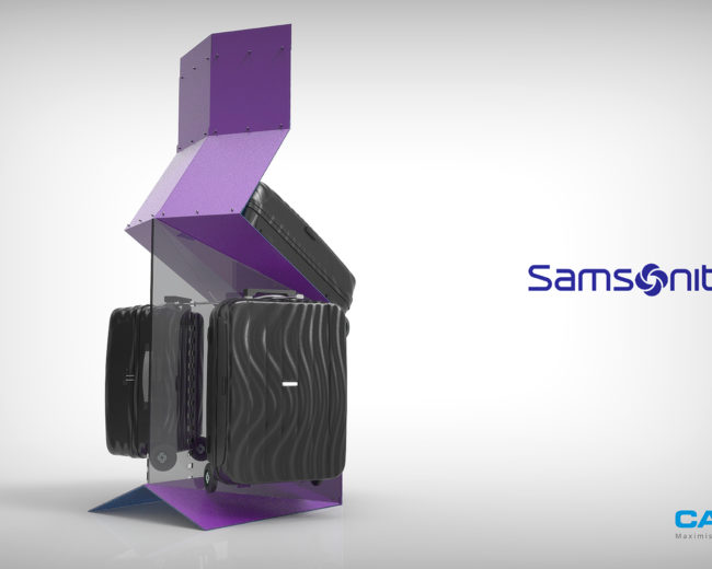 3D retail suitcase display – Caps / Samsonite