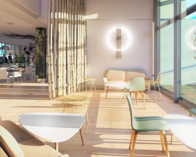 Visualisation intérieure d'un restaurant – Zen Eat